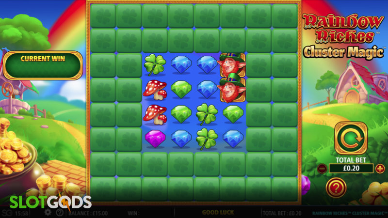 Rainbow Riches Cluster Magic Online Slot by Barcrest Screenshot 1