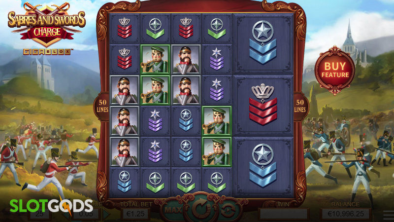 Swords and Sabres Charge Gigablox Online Slot by Yggdrasil Screenshot 1